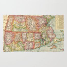 Vintage Map of New England States (1900) Rug