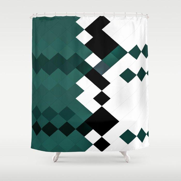 Emerald Green White Black Geometrical, Green And White Shower Curtain