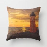 milwaukee Throw Pillows featuring Milwaukee Lighthouse by Hatton Custom Design