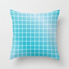 Ocean blue and white line art Throw Pillow