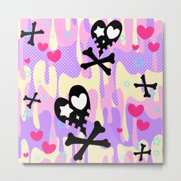 Melty Heart Skulls and Crossbones Metal Print