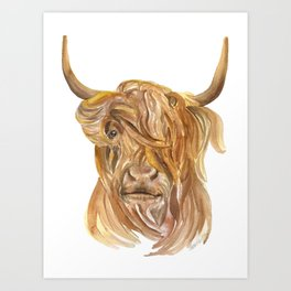Highland Cow Watercolor Art Print