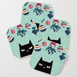 Mistletoe? (Black Cat) Coaster