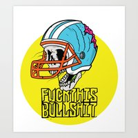 nfl Art Prints featuring NFL Skull by Bowman Illustration