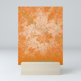 Lucknow, India, Gold, Blue, City, Map Mini Art Print