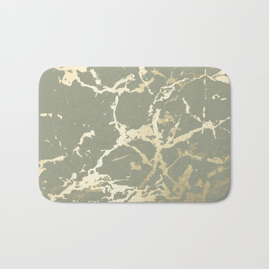 Simply Kintsugi Ceramic Gold on Green Tea Bath Mat