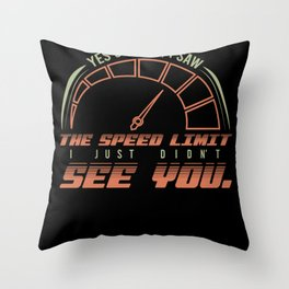 Fast Speed Police Funny Motif Throw Pillow