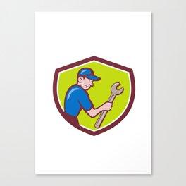Handyman Holding Spanner Crest Cartoon  Canvas Print