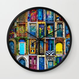 Behind Every Door (Is A Home), Collage Painting of Colorful World Doors by Jeanpaul Ferro Wall Clock