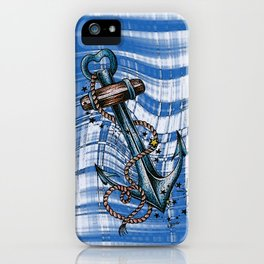 Blue anchor with stars iPhone Case