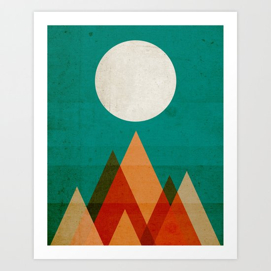 Full moon over Sahara desert Art Print