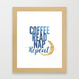 Coffee. Read. Nap. Repeat. Framed Art Print