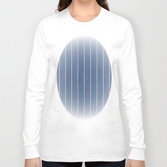 Denim Blue with White Pinstripes Long Sleeve T-shirt