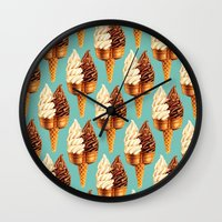 novelty Wall Clocks featuring Ice Cream Pattern - Teal by Kelly Gilleran