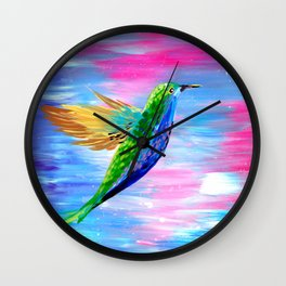 Hummingbird, Boho animal painting of a hummingbird with bright colors Wall Clock