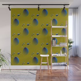 Blue flying objects Wall Mural