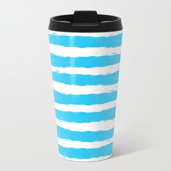 Simple aqua and white handrawn stripes - horizontal - for your summer on #Society6 Metal Travel Mug