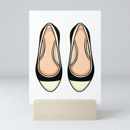 Beige And Black Ballet Flat Shoes Mini Art Print