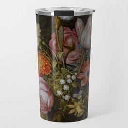 "Ambrosius Bosschaert the Elder ""A still life of flowers in a glass beaker"" Travel Mug"