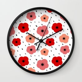 cute colorful pattern background with poppies Wall Clock