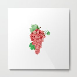 Watercolor Illustration of grape with its leaves and vine Metal Print