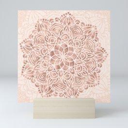 Mandala Seashell Rose Gold Coral Pink Mini Art Print