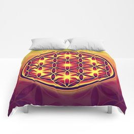 FLOWER OF LIFE batik style yellow red Comforters
