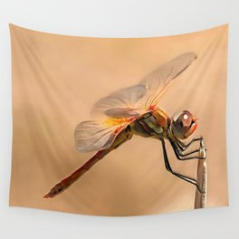Painted Dragonfly Isolated Against Ecru Wall Tapestry