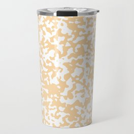 Small Spots - White and Sunset Orange Travel Mug