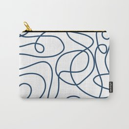 Doodle Line Art   Petrol Blue Lines on White Background Carry-All Pouch
