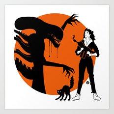 Alien Cartoon Style - Orange Art Print