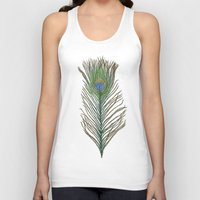 peacock feather Tank Tops featuring Peacock Feather by Sophie Wedd