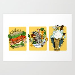 Some Fascinations in Food (BLT, Bun, Ice Cream Cone) Art Print