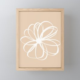 Abstract Flower White Beige Framed Mini Art Print