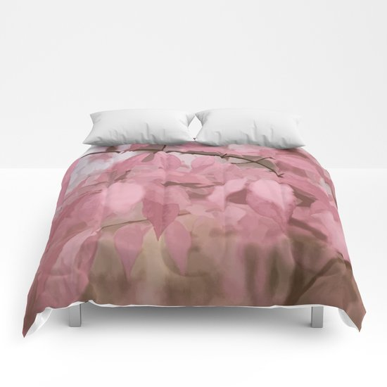 Soft Pastel Leaves  Comforters