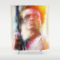 soldier Shower Curtains featuring Village Soldier by Psychedelic Astronaut