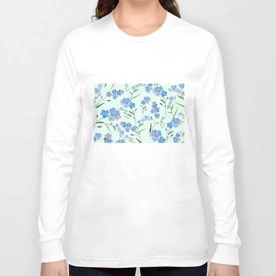 forget me not in green background Long Sleeve T-shirt
