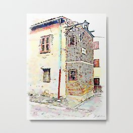 Camerata Nuova: glimpse of the buildings with two street lamps Metal Print