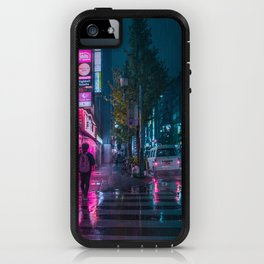 Japanese walking home on a rainy night in Tokyo iPhone Case