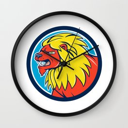 Angry Lion Head Roar Circle Cartoon Wall Clock