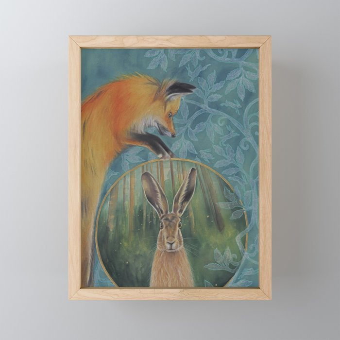 The Fox and the Hare Framed Mini Art Print