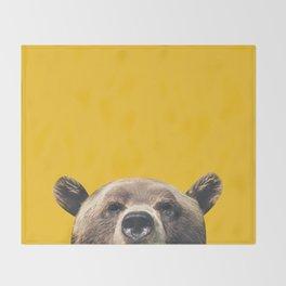 Bear - Yellow Throw Blanket