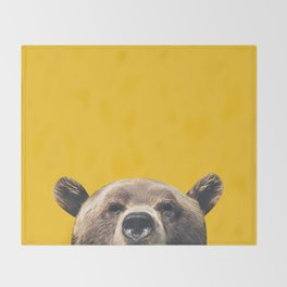 Bear - Yellow Throw Blanket