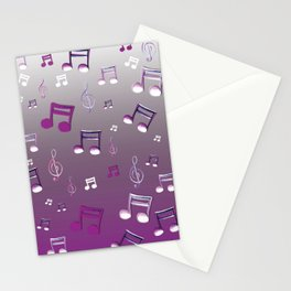 Purple Notes Stationery Cards