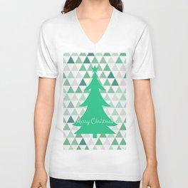 Merry Christmas Tree Pattern Unisex V-Neck