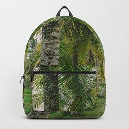 Rice field path between palm trees - Ubud, Bali, Indonesia - Travel Photography fine art wall print Backpack