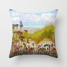 Plaid Beachscape with Dragonflies Throw Pillow