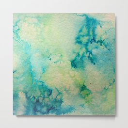 Watercolor wash - green Metal Print