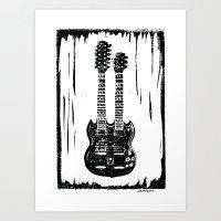 Slash's (Guns N' Roses) Gibson EDS-1275 guitar linocut print Art Print