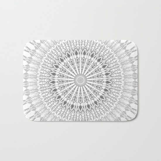 Gray White Mandala Bath Mat